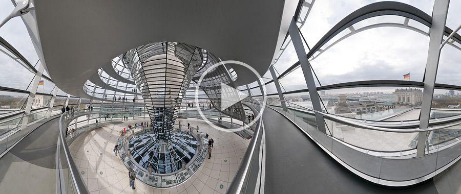 Abgang in der Kuppel des Reichstagsgebäudes Panoramafototgrafie