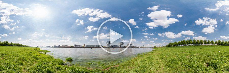 360°x180°-Panorama - Poller Wiesen am Rhein in Köln - Blick auf die Kranhäuser und den neuen Rheinauhafen | 05.2013