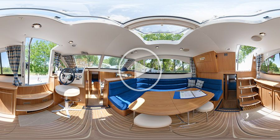 360°x180°-Panorama Hapimag Hausboot Venus 38 in Capestang / Languedoc / Frankreich - unter Deck | 06.2010