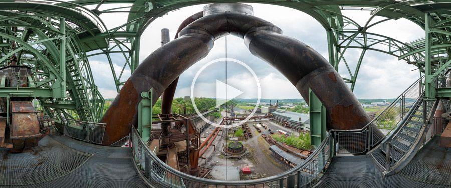 360° Blick vom Hochofen auf das Gelände