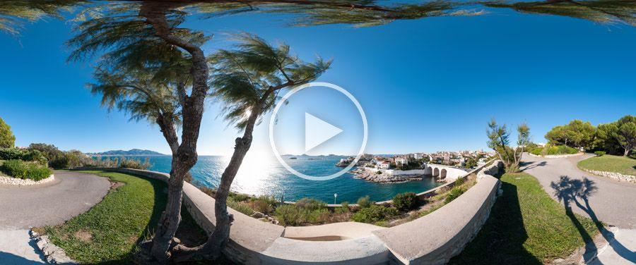 360°x180°-Panoramique Parc Valmer et Petit Nice à Marseille #3284 | 10.2012