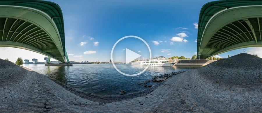 360°x180°-Panorama - Flusskreuzfahrtschiff unter der Severinsbrücke in Köln #3 | 10.2013