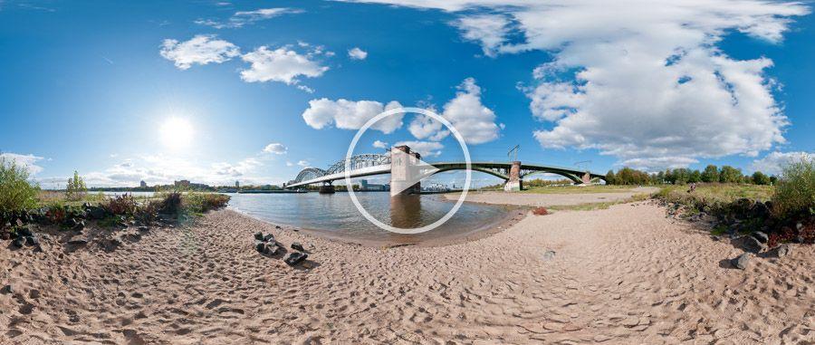 360°x180°-Panorama Rheinstrand mit Südbrücke Köln #2 | 10.2011