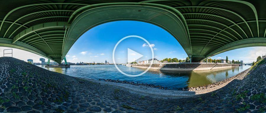 unter der Severinsbrücke in Köln 360°x180°-Panorama
