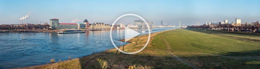 120°-Panorama - Kölnpanorama mit Rheinauhafen und Poller Wiesen | 280 Megapixel | 01.2014
