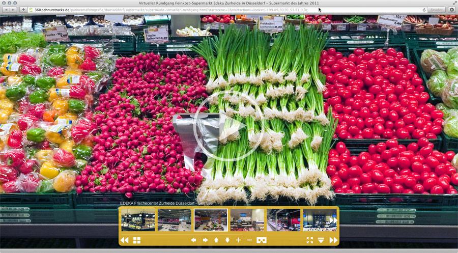 Feinkost Supermarkt Düsseldorf | Virtuelle Tour mit 11 verknüpften Panoramen