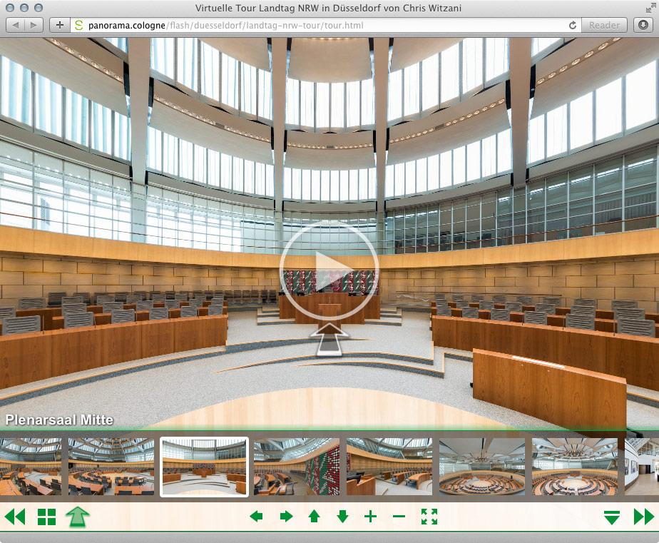 Virtuelle Tour Landtag NRW 360°x 180° Panoramafotografien