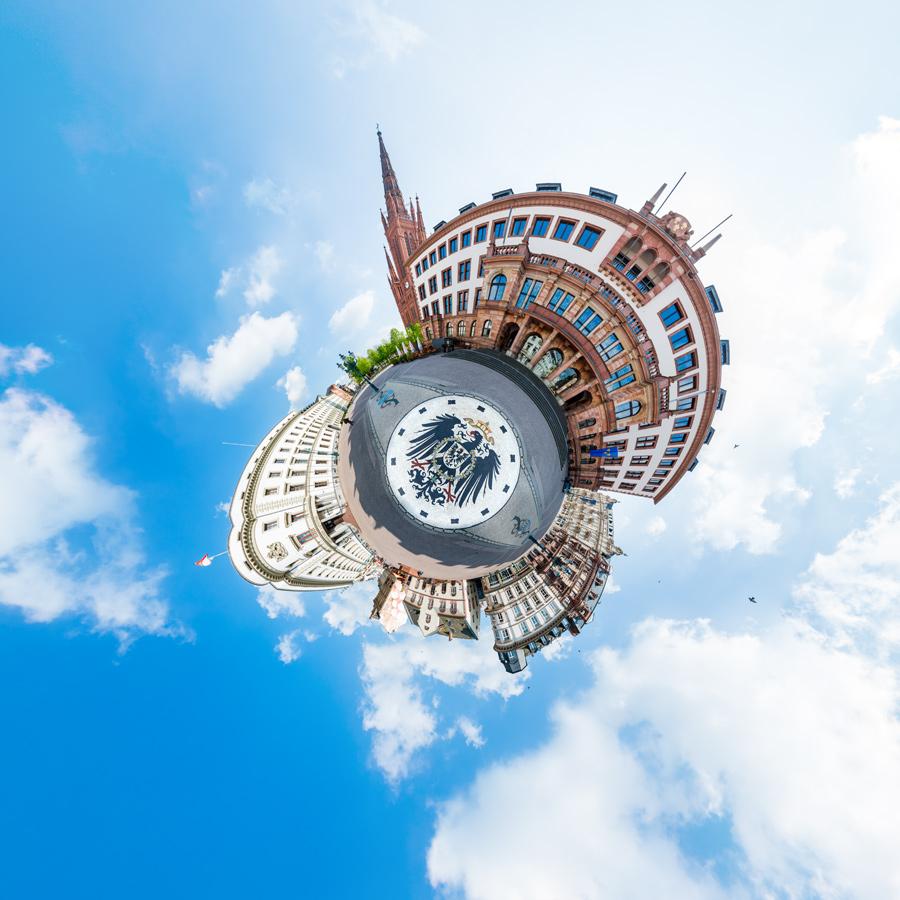 Little Planet Rathaus und Hessischer Landtag - 360°x 180° Panorama