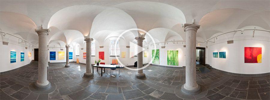 Ausstellung von Rose-Marie Gnausch im Säulensaal der Abtei Brauweiler - 360°x180°-Panorama 03.2012