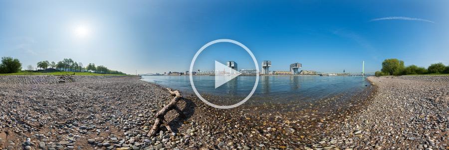 360°-Panoramafotografie Rheinstrand gegenüber den Kranhäusern