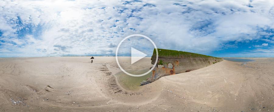 360°x180°-Panorama – Wrack der Verona auf Spiekeroog bei Niedrigwasser | #8237 07.2015