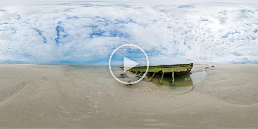 360° panoramic photography shipwreck Germany - 360°x180°-Panorama – Wrack der Verona auf Spiekeroog bei Niedrigwasser | #8255 07.2015