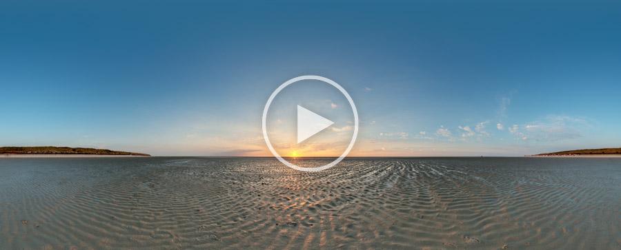 Sonnenuntergang in die Nordsee bei Spiekeroog #9152 | 07.2015 | 360°x180°-Panoramafotografie