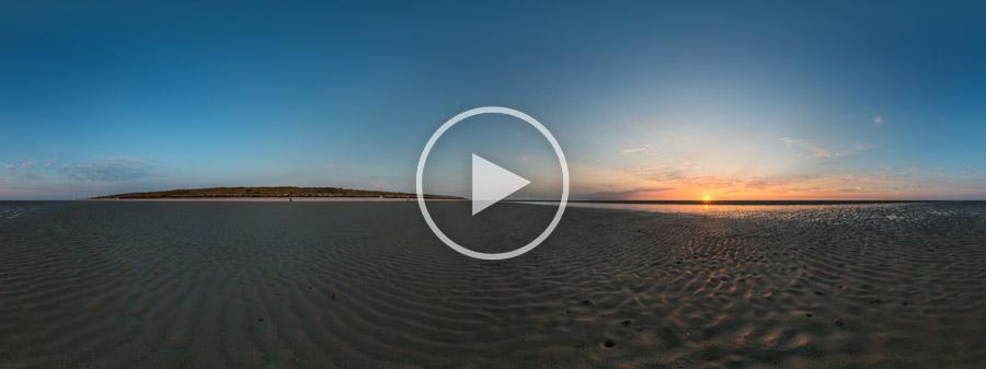 Sonnenuntergang im Wattenmeerbei Spiekeroog #9309 | 07.2015 | 360° Panoramafotografie
