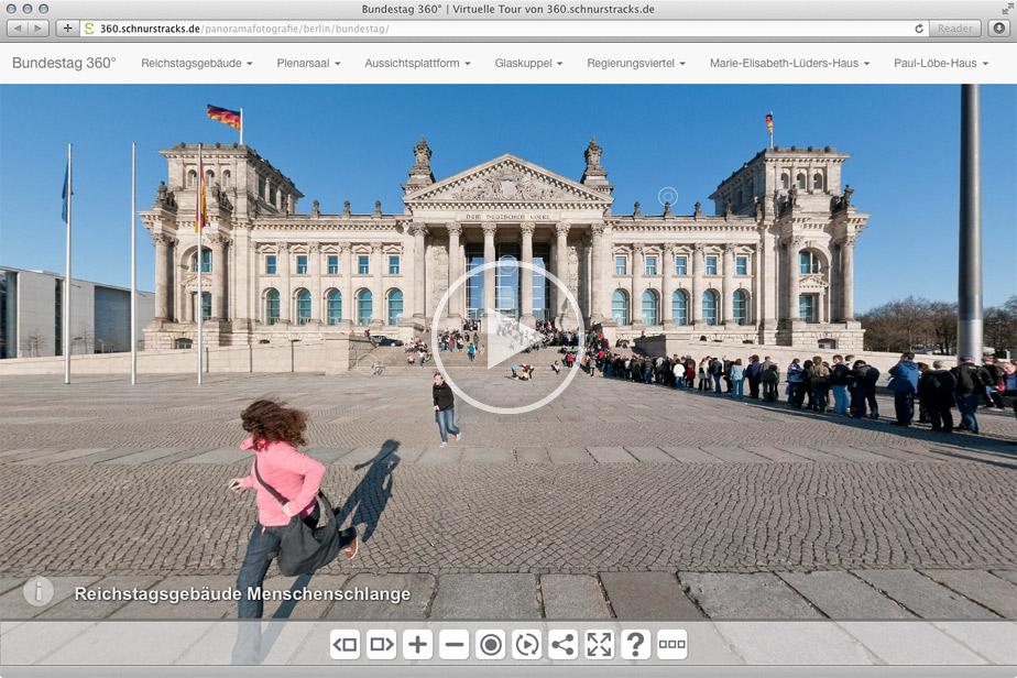 Virtuelle Tour mit mehr als50 Kugelpanoramen durch das Berliner Regierungsviertel, u.a. mit Einblicken in den Plenarsaal des Deutschen Bundestags oder in die Bundestagsbibliothek | 2010-12