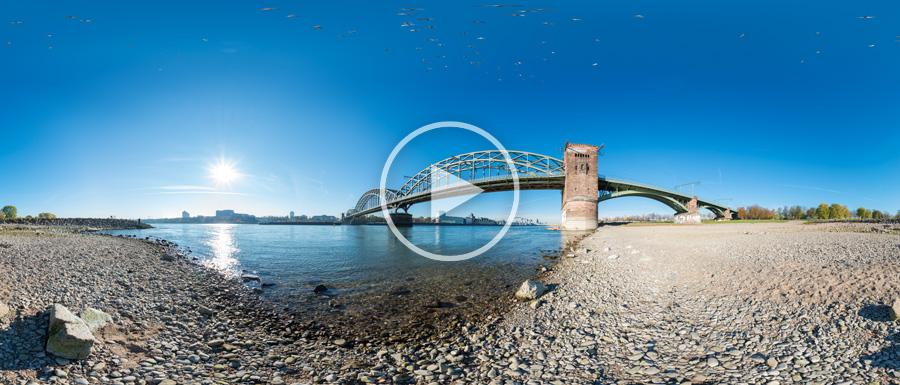 Die Kölner Südbrücke im sonnigen Herbst #02 | 360°x180°-Panorama