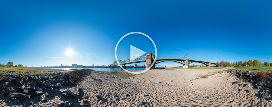 Die Kölner Südbrücke im sonnigen Herbst #01 | 360°x180°-Panorama