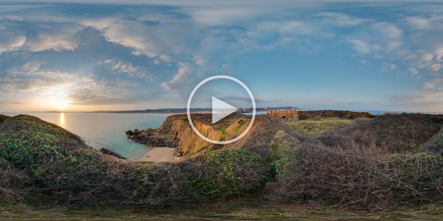 Sonnenuntergang am Fort de l'île de l'Aber – Finistère | Panorama #3946 | 03.2016