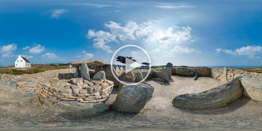 Neolithische Nekropole Pointe de Souc'h / Menez Dregan in Plouhinec / Bretagne | Kugelpanorama # 4068 | 03.2016