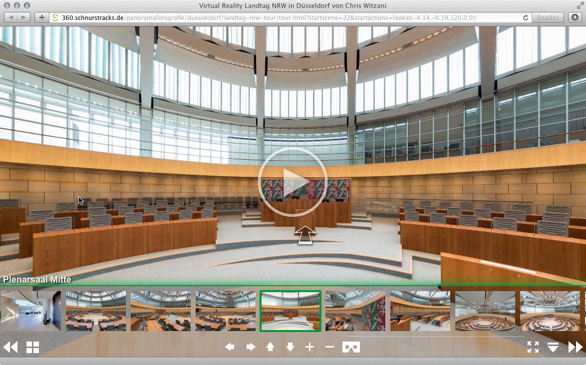 Virtuelle Tour Landtag NRW in Düsseldorf mit 30 hochaufgelösten Kugelpanoramen | 2013-16