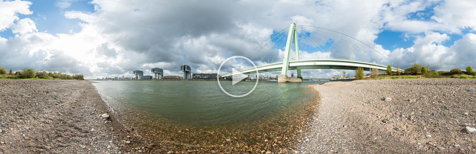 Rheinkilometer 687,2 – Severinsbrücke | 360°x180°-Panorama von Chris Witzani | 10.2017