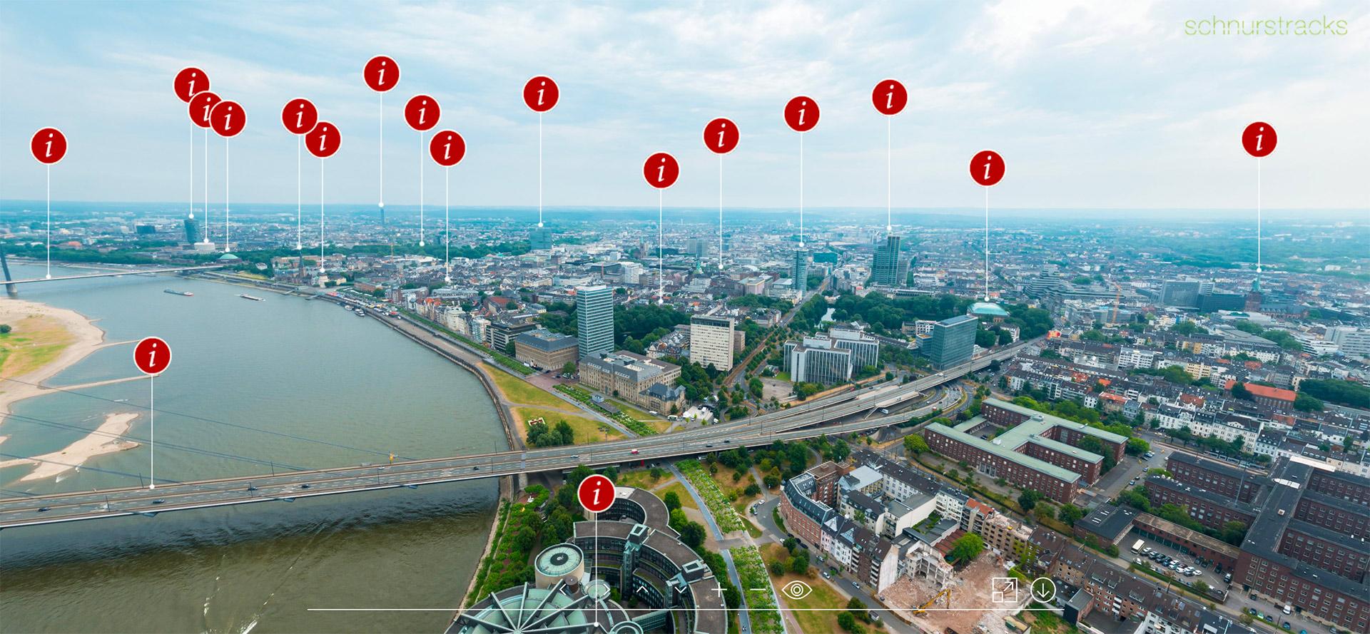 Düsseldorf Panorama mit Informationen zu Bauwerken - krpano Programmierung