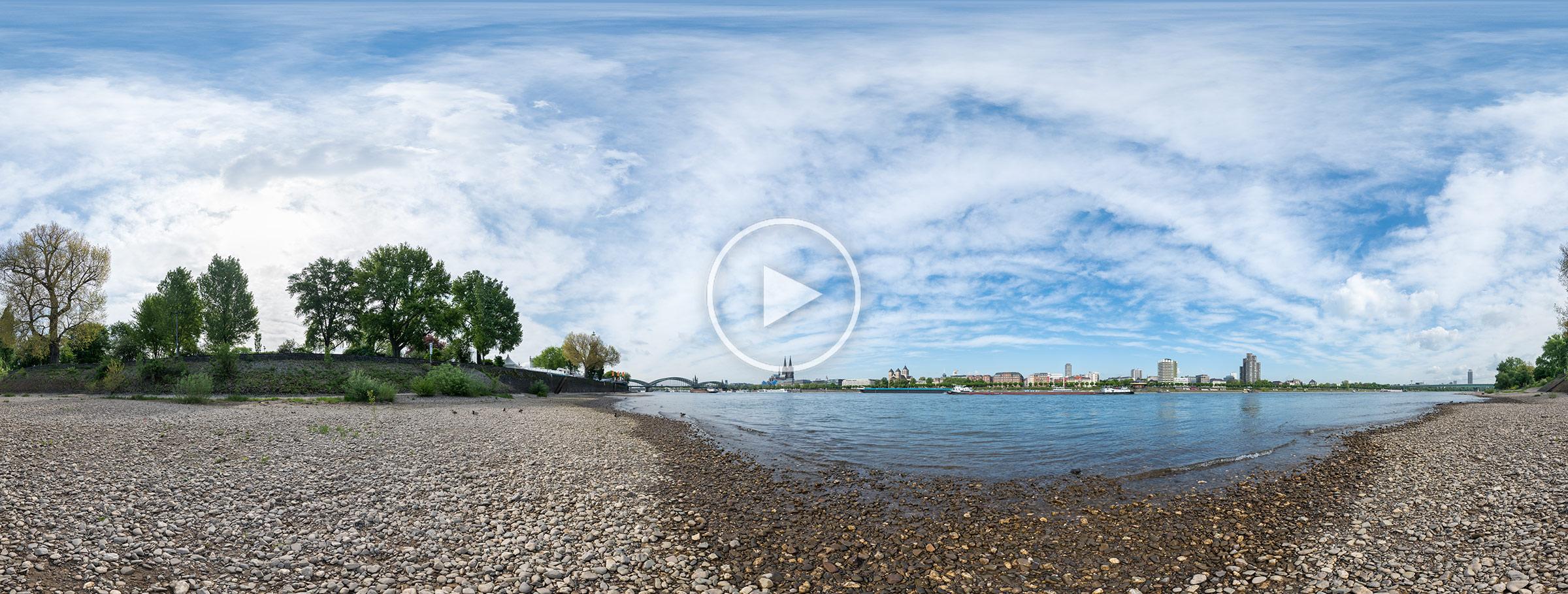 Rheinufer im Kölner Rheinpark | Kugelpanorama von Chris Witzani | 05.2018