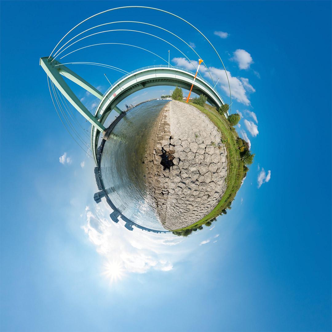 Little Planet | Severinsbrücke mit Rheinuferbefestigung #5