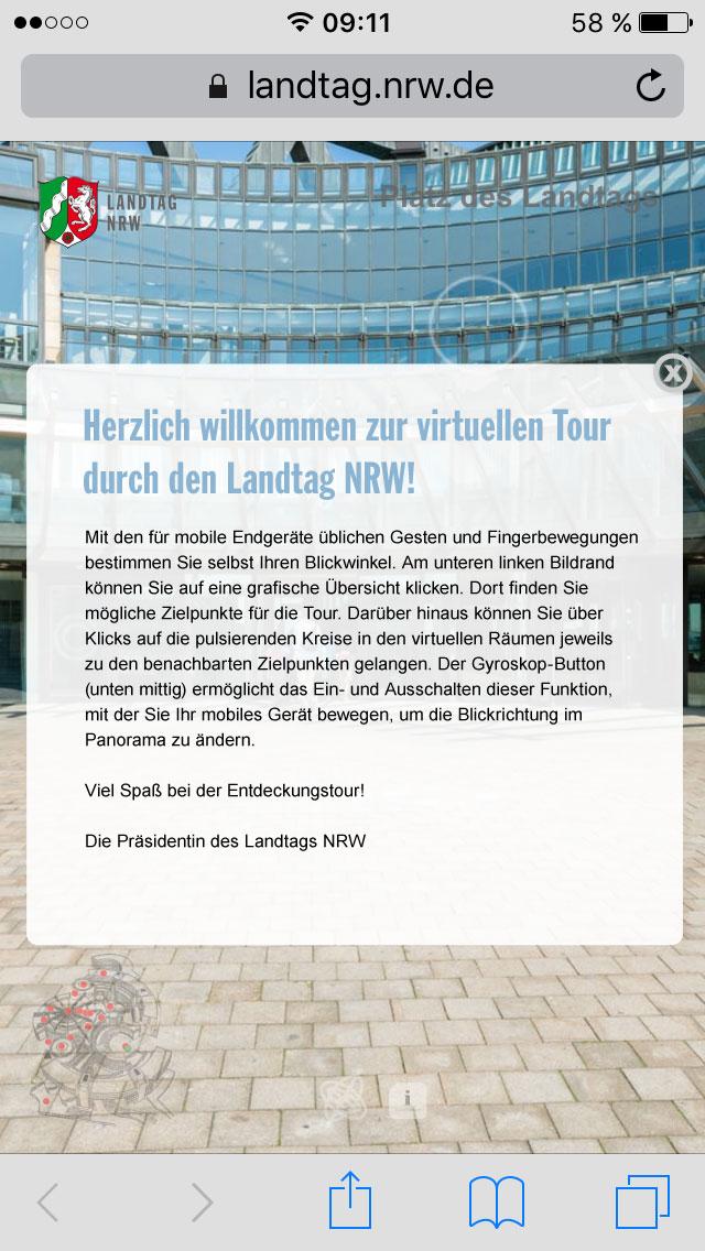 Virtuelle Tour Landtag NRW für das Smartphone
