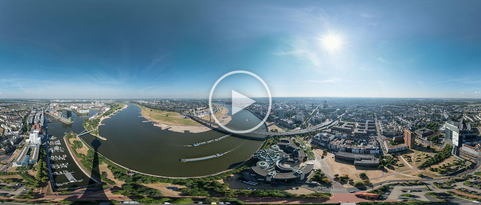 Düsseldorf Panorama am Rheinturm | 360°x180° | 07.2018