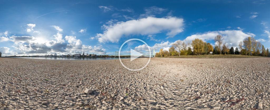 Niedrigwasser des Rheins bei Rheinkilometer 683, Porz-Westhoven, Ansicht Rodenkirchen, 11.2018