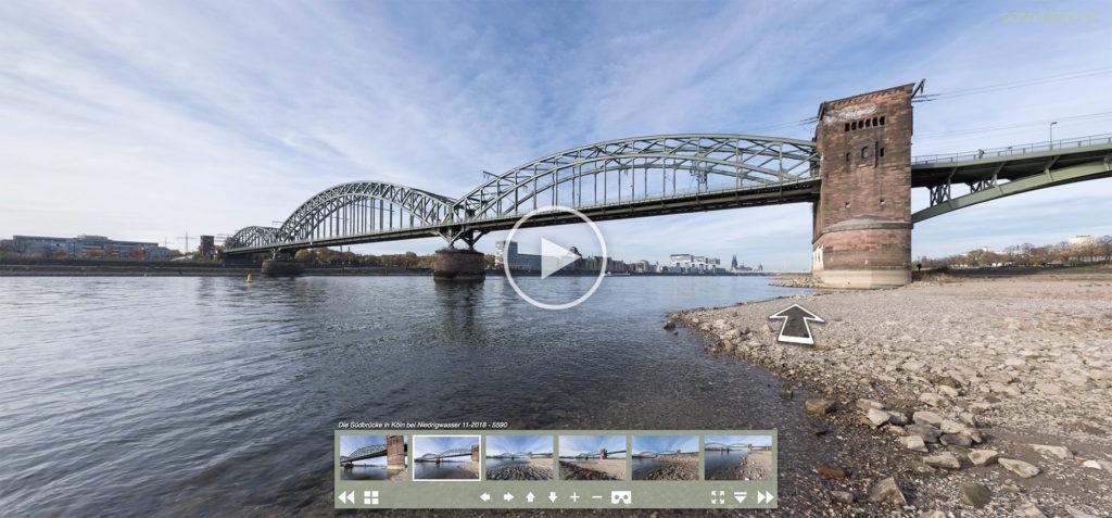 Virtuelle Tour am Rheinstrand mit Kugelpanoramen der Südbrücke in Köln | 11.2018