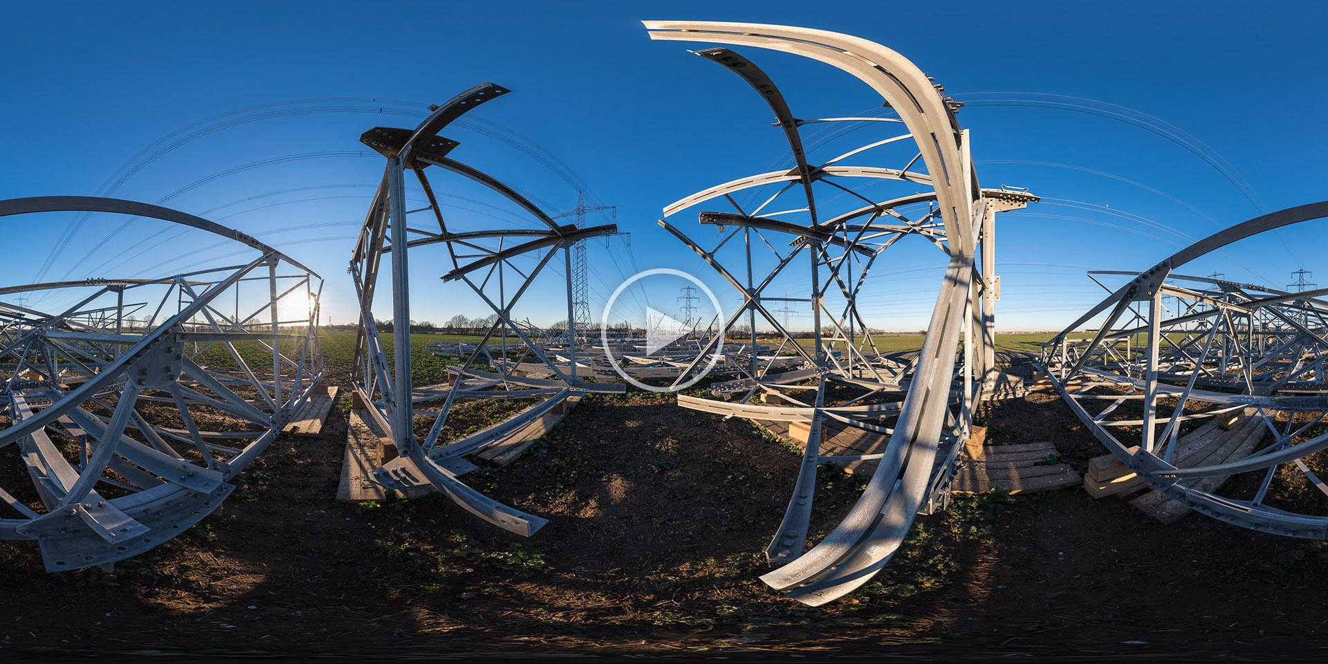 Netzausbau Baustelle einer Freileitung - Panoramafotografie von Chris Witzani