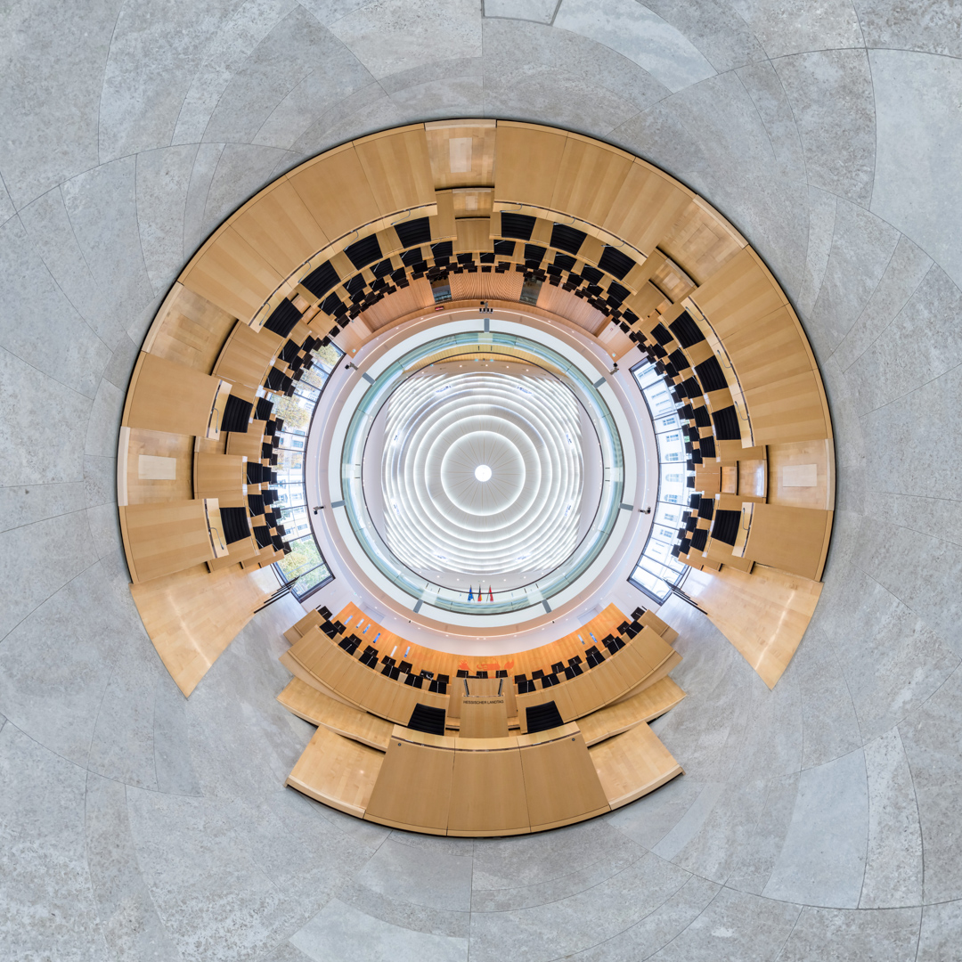 inverted Little Planet Plenarsaal im Hessischen Landtag