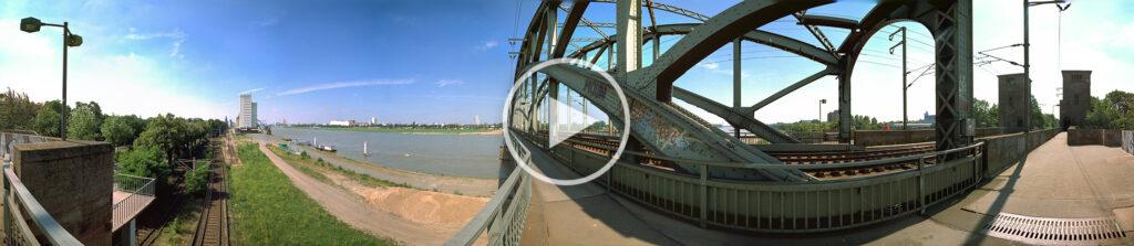 Zylindrisches 360 Grad Panorama von der Kölner Südbrücke im Jahr 1996